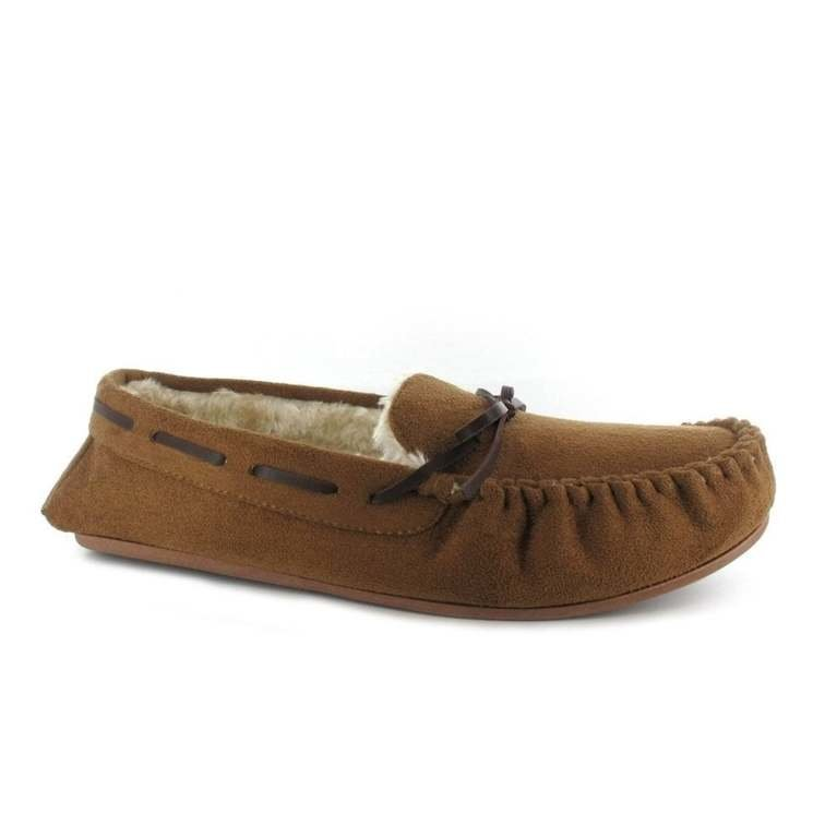 Ella Luxury Alfie Chestnut Brown Mocassin Slippers - Brown