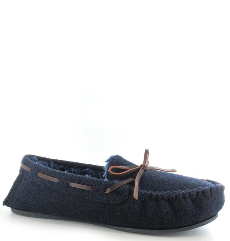 Ella Shoes Arthur Tweed Moccasins - Navy