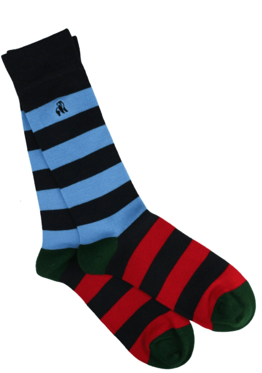 Swole Panda Bamboo Socks - Blue/Red/Green
