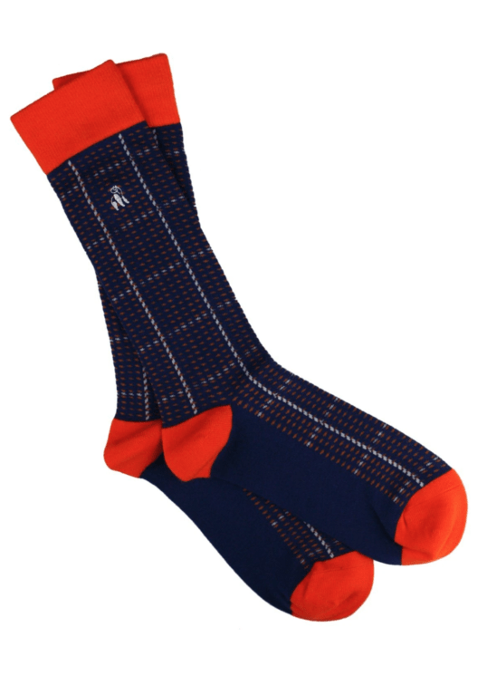 Swole Panda Bamboo Socks - Orange Blue Check