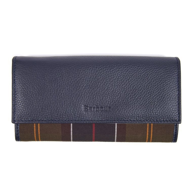 Barbour Convertible Leather Wallet  - Navy