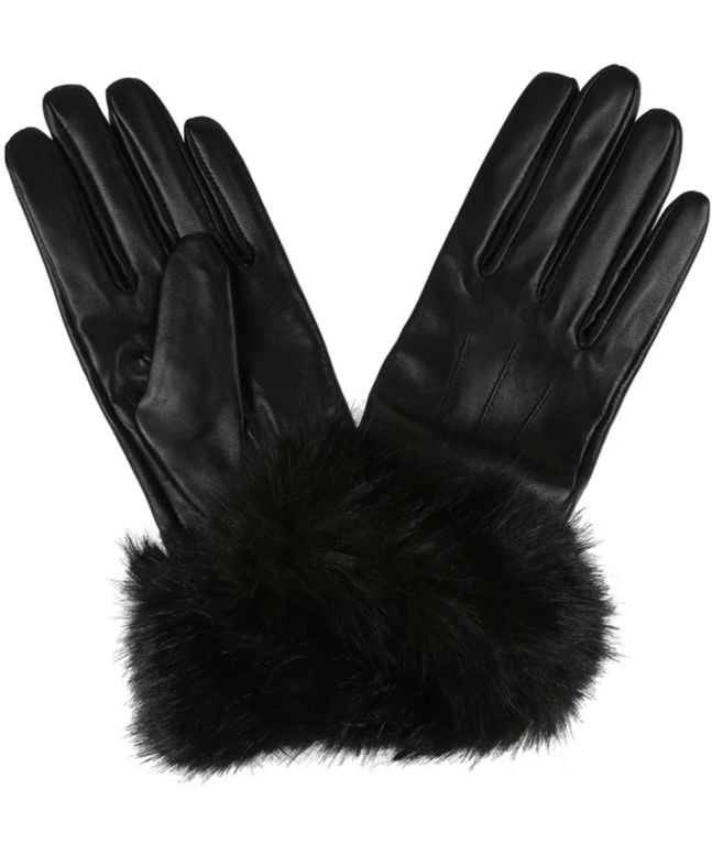 Barbour Fur Trim Leather Glove - Black