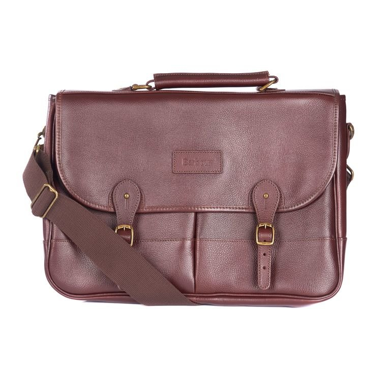Barbour Leather Briefcase  - Dark Brown