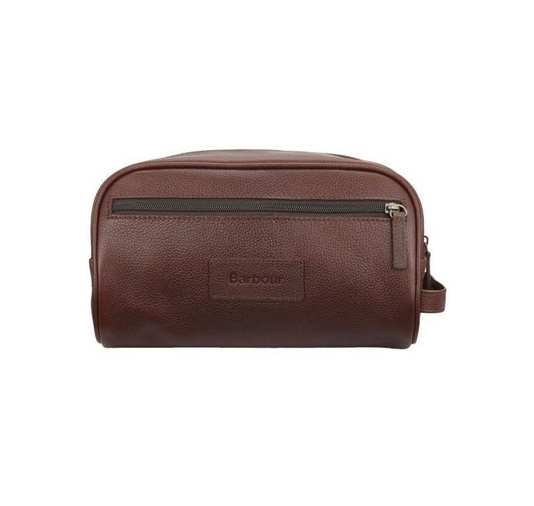 Barbour Leather Wash Bag - Brown