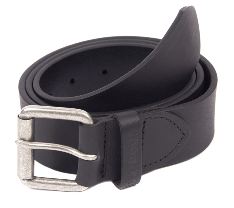 Barbour Matt Leather Belt - Black