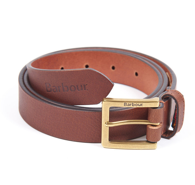 Barbour Pull Up Leather Belt - Dark Tan