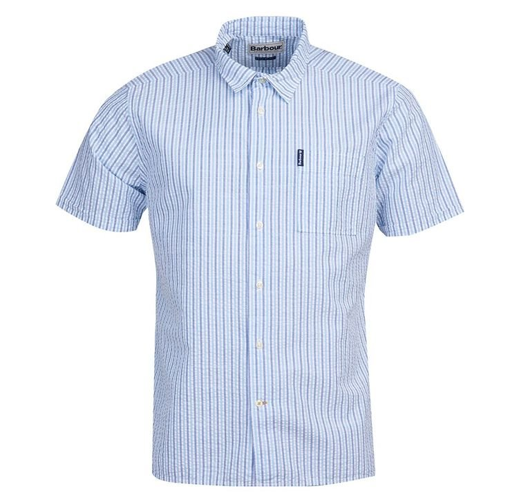Barbour Seersucker 8 Short Sleeve Shirt - Blue