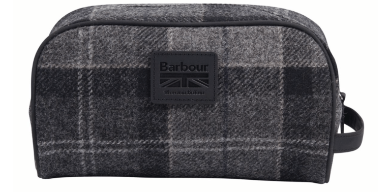 Barbour Shadow Tartan Wash Bag - Black/Grey