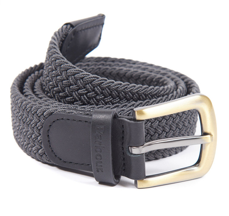 Barbour Stretch Webbing Leather Belt - Charcoal