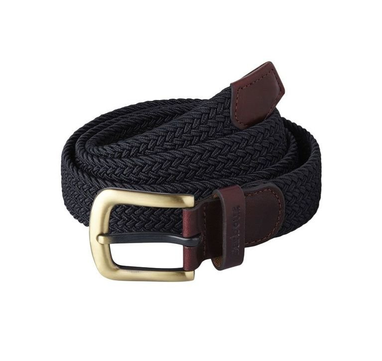 Barbour Stretch Webbing Leather Belt - Navy