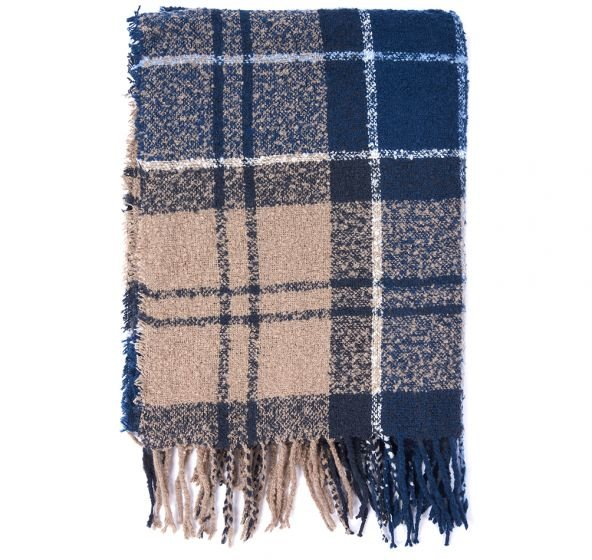 Barbour Tartan Boucle Scarf  - Blue Trench
