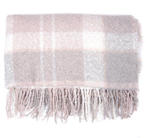 Barbour Tartan Boucle Scarf - Soft Pink/Grey