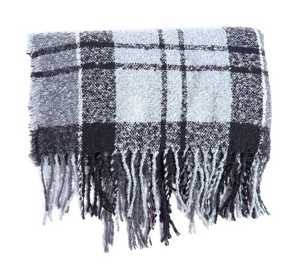 Barbour Tartan Boucle Scarf - Grey/Juniper