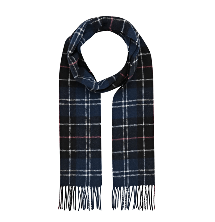 Barbour Tartan Lambswool Scarf  - Navy/Red