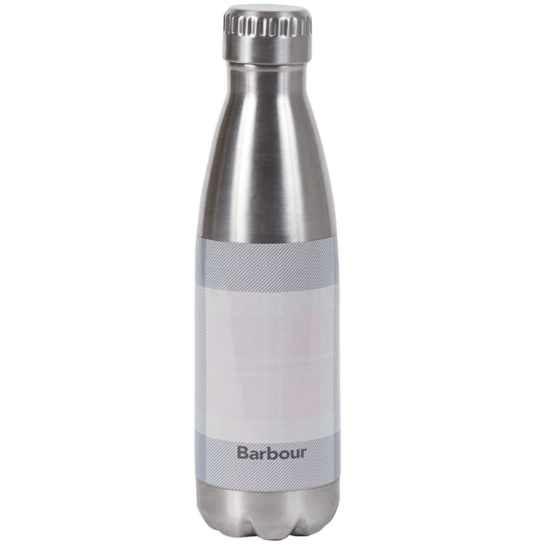 Barbour Tartan Water Bottle - Pink/ Grey
