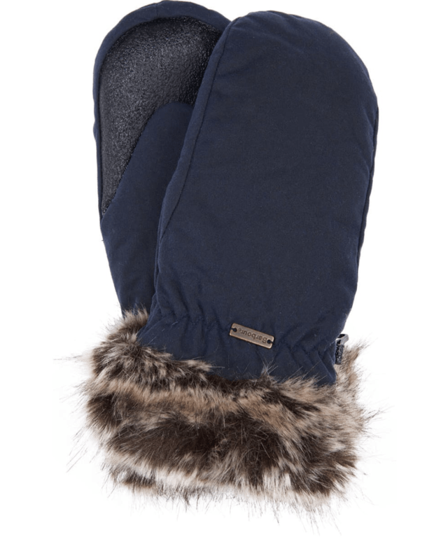 Barbour Wax Fur Trim Mitten - Navy
