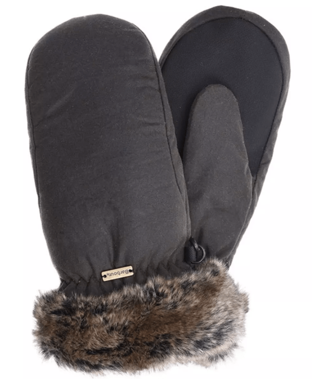 Barbour Wax Fur Trim Mitten - Olive