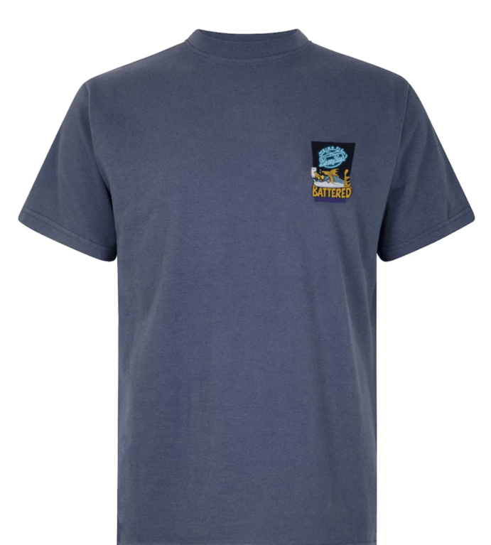 Weirdfish Battered Tee - Blue Indigo