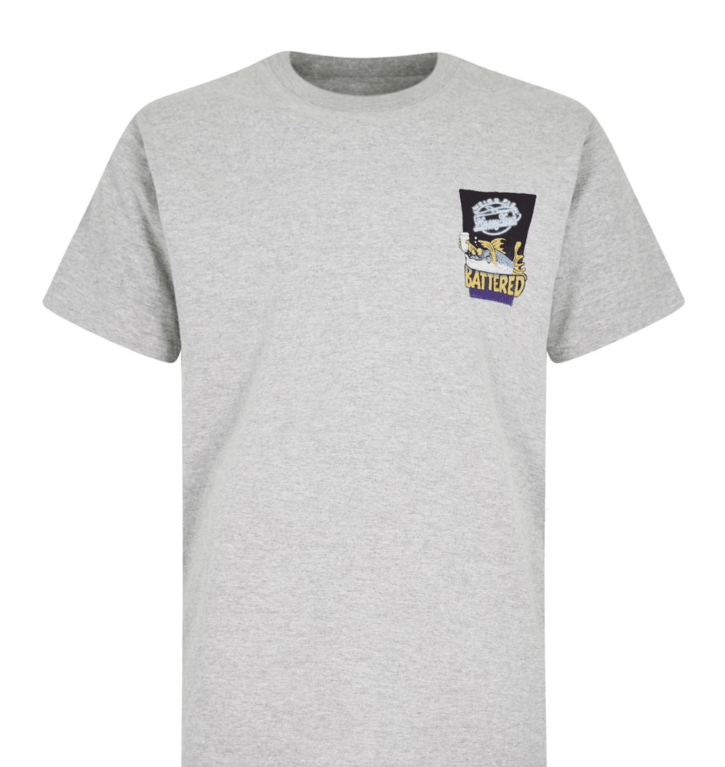Weirdfish Battered Tee - Grey Marl