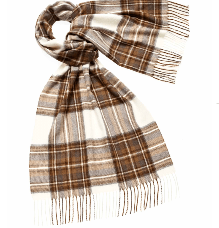 Bronte Tartan Merino Stole  - Natural Dress Stewart