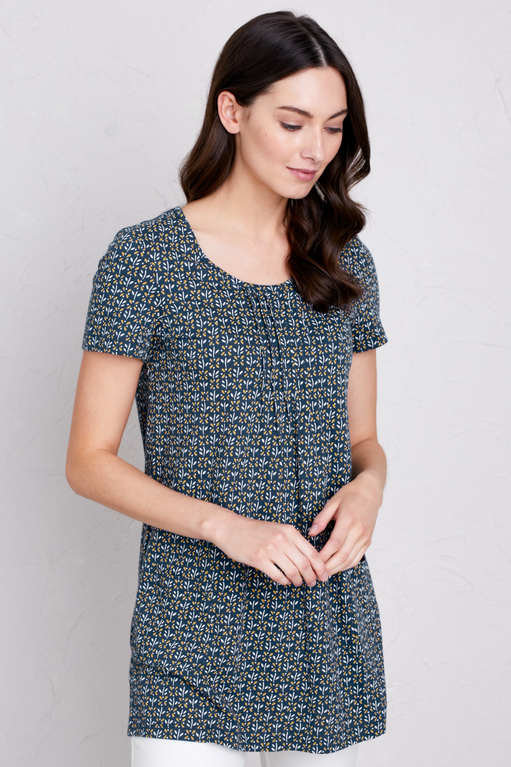 Seasalt Busy Lizzy Tunic - Little Flower Stamp Marine