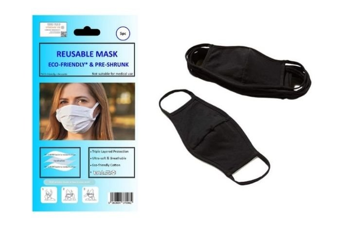 Otterdene Cotton Masks 5 Pack - Black