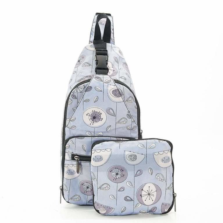 Eco Chic Cross Body Bag - Grey flower