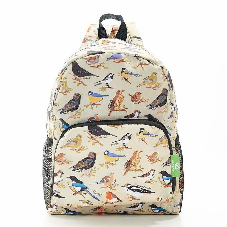 Eco Chic Backpack Mini  - Green Wild Birds