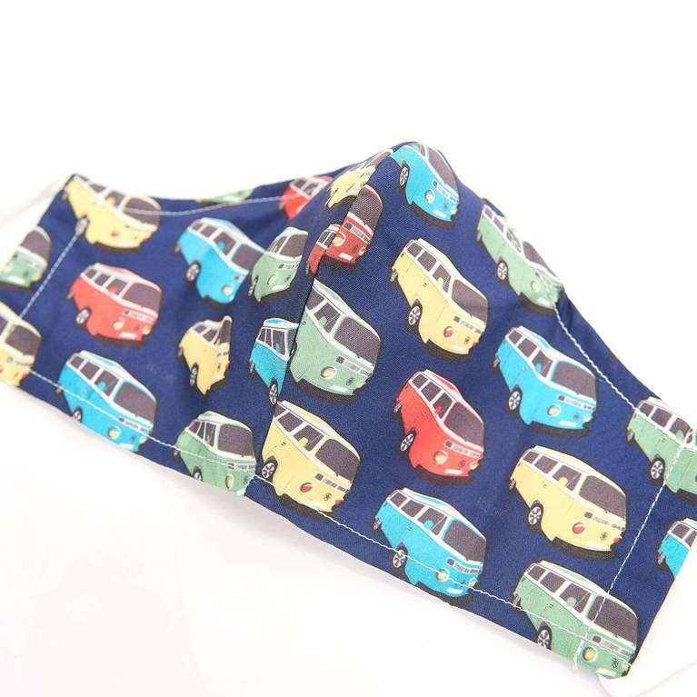 Eco Chic Reusable Face Cover - Navy Camper Van