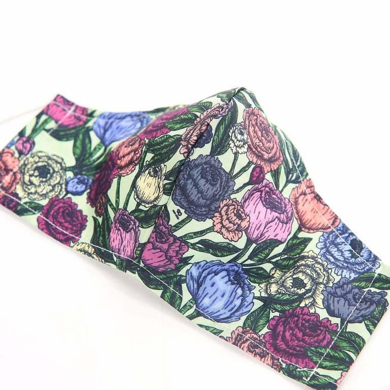 Eco Chic Reusable Face Cover - Green Peonies