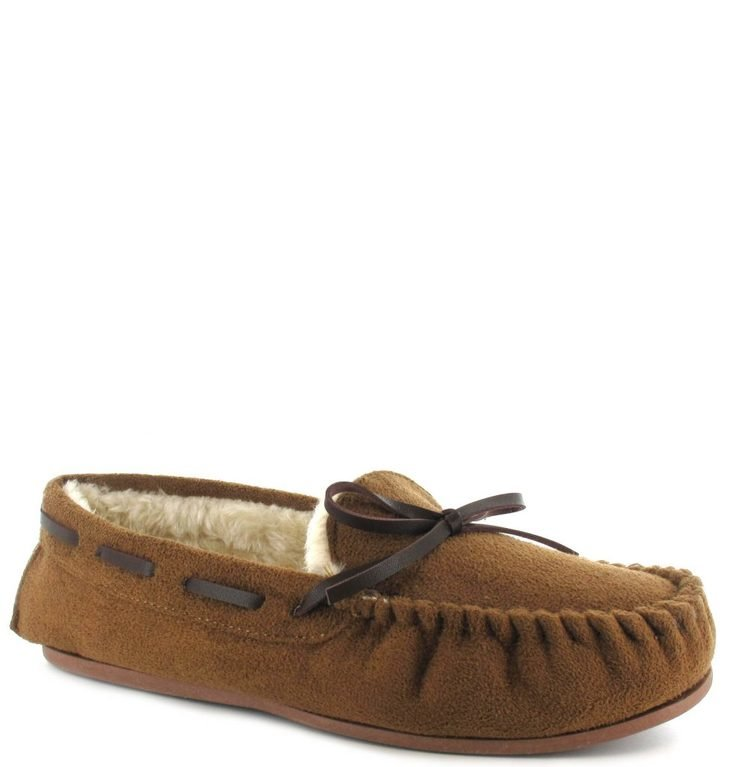 Ella Luxury Faith Moccasin Slippers - Chestnut