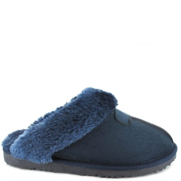 Ella Luxury Jill Mule Slippers - Navy
