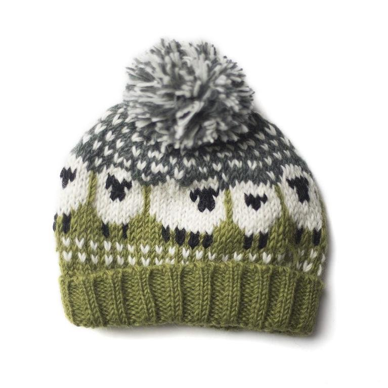 From The Source Sheep Bobble Hat - Green