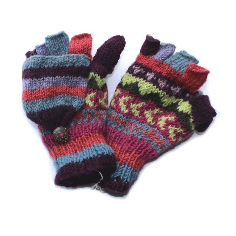 From the Source Winter Stripe Fingerless Mitts  - Purple
