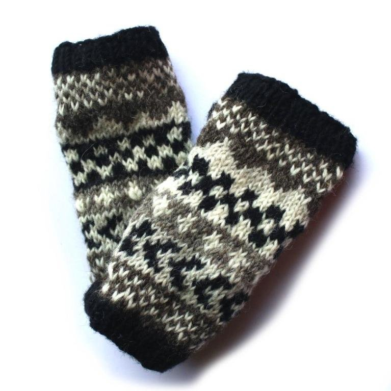 From The Source Winter Stripe Wrist Warmer  - Black and White