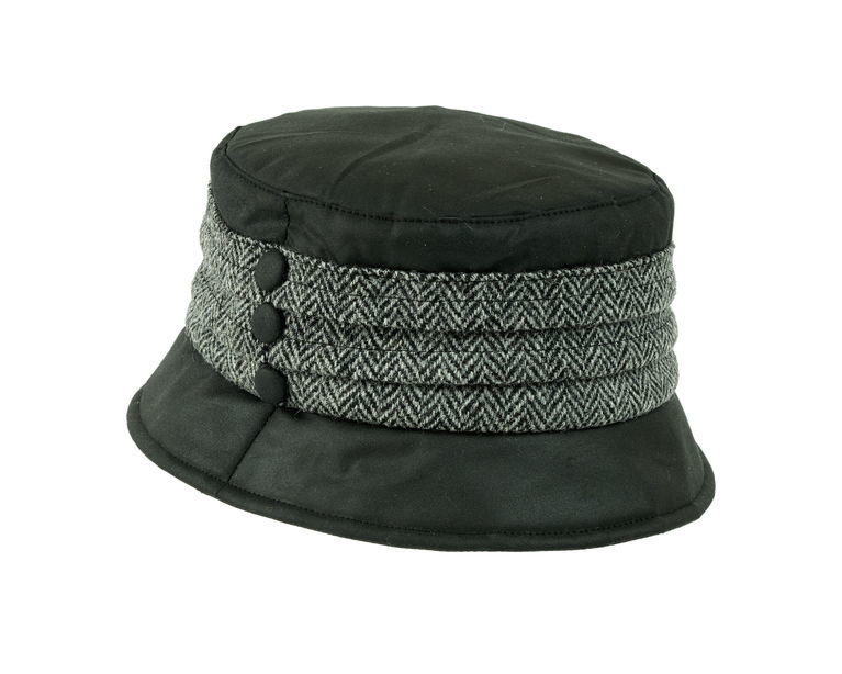 Heather Hat's Amy Wax Harris Pleat Hat - Black/Grey