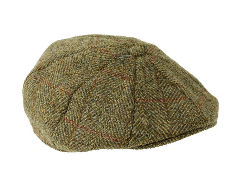Heather Hat's Arran Harris Tweed Flat 8pc Cap - Olive/Gold