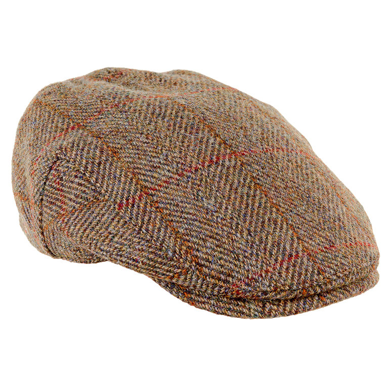 Heather Hat's Highland Harris Tweed Cap - Olive/Gold