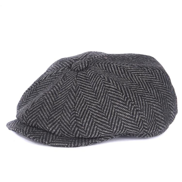 Barbour Herringbone Bakerboy Cap - Dark Grey