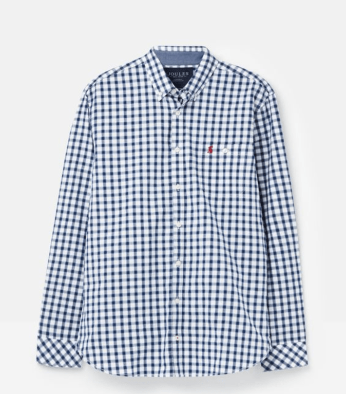 joules Hewney Long Sleeve Shirt - Blue Herringbone