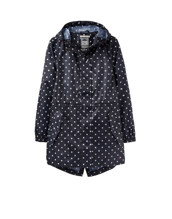 Joules Golightly Packaway Coat - Navy Spot