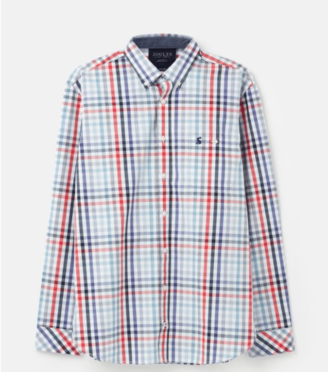 Joules Hewney Long Sleeve Shirt - Red/Blue