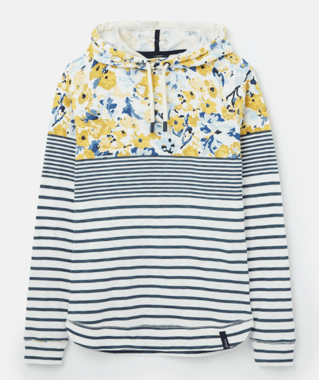 Joules Marlston Hoody - Cream Blue Floral