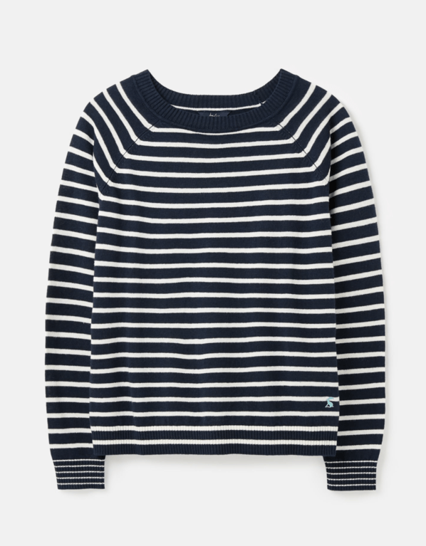 Joules Vicky Linen Sweater  - Navy Cream