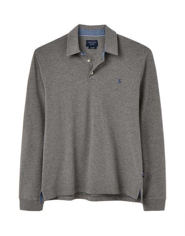 Joules Woodwell Long Sleeve Polo Shirt   - Grey Marl