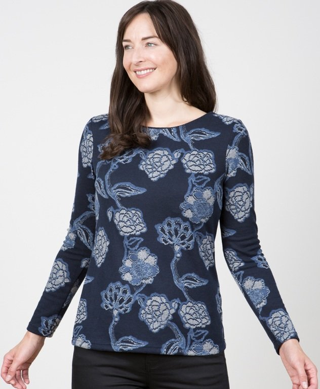 Lily and Me Angela Top  - Kimono Navy