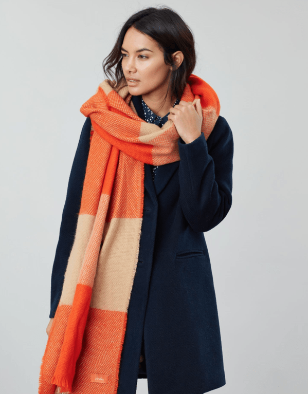 Joules Meadow Check Scarf - Orange Check