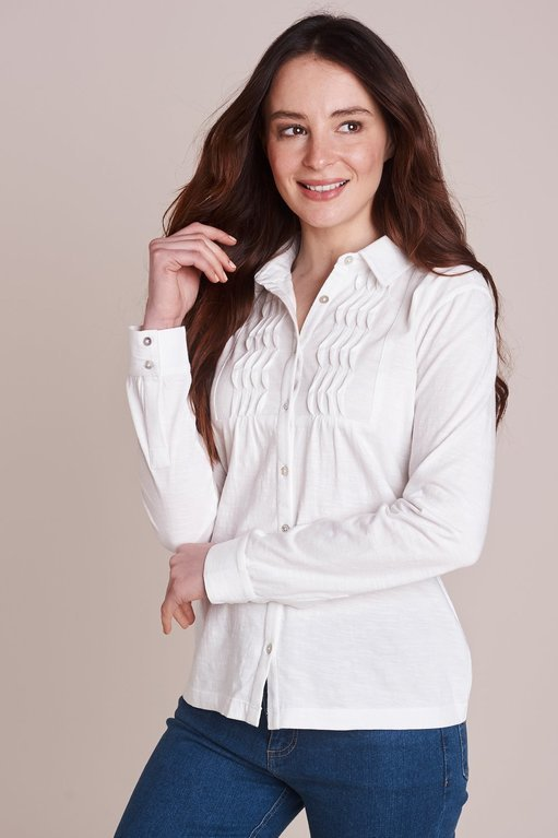 Mistral Bib Front Slub Shirt  - Optic White