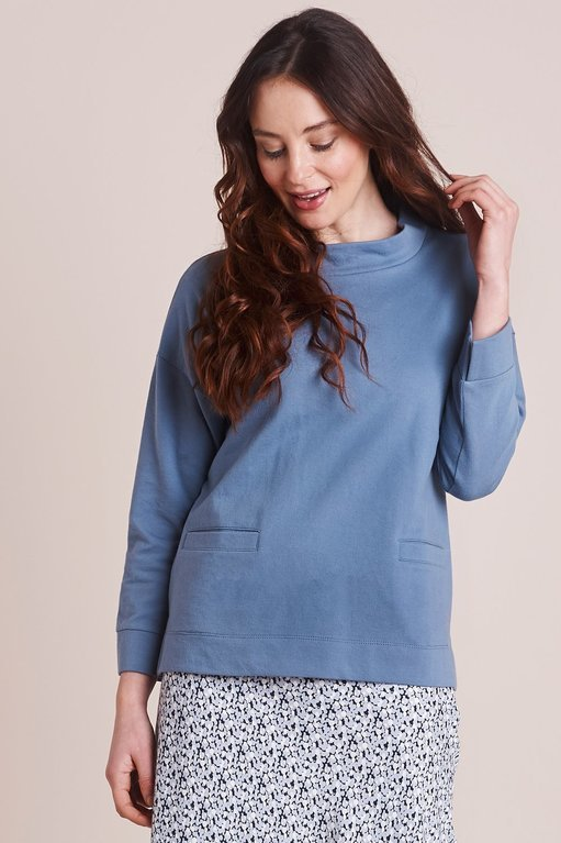 Mistral Brushed Sweat Top - Copen Blue