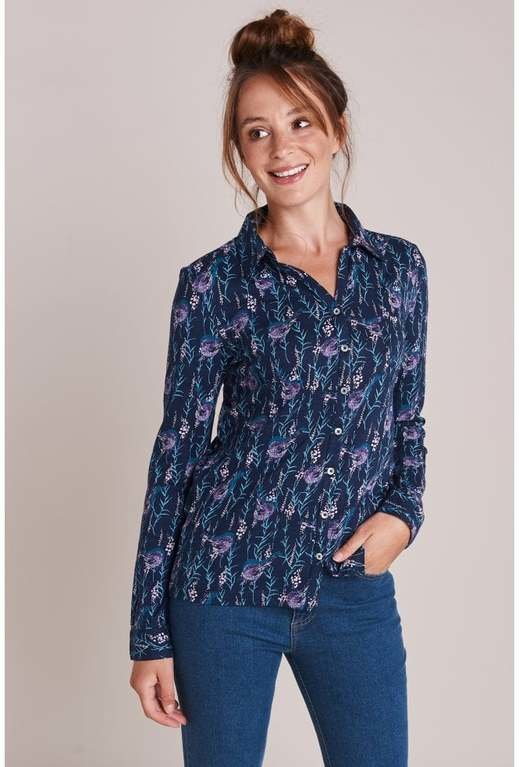 Mistral Cotton Jersey Shirt  - Bird Print
